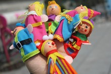 Hot selling baby 6pcs/lot finger puppets king's family hand puppets plush doll toys for kids and children gifts