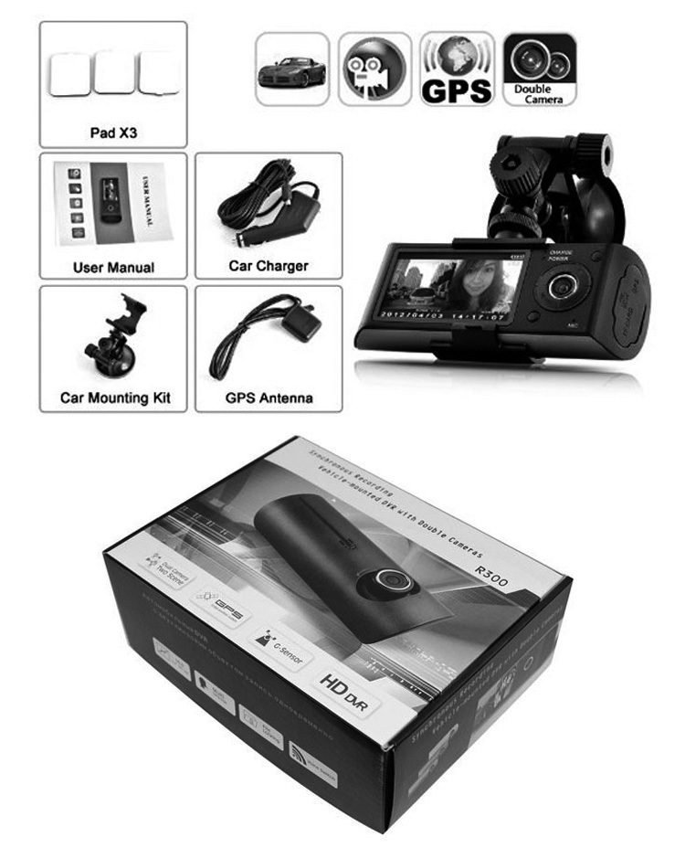 GPS tracking system dual lens car dvr dash camera
