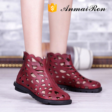 fashion fancy die cut laser woman ladies handmade leather flat boot sandals