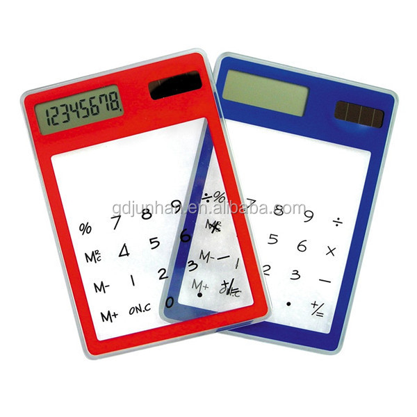 Touch screen transparent clear plastic calculator