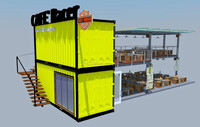 Modern Design Shipping Container Bar Restaurant Multi Level Eco Store 20ft 40ft Stacked