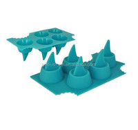 5-Cavity Shark Fin Silicon Ice Cube Tray Fancy Freeze Block Mould