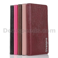 LevanproTree Grain Genuine Leather Wallet Stand Flip Case for HuaWei P8 -Red