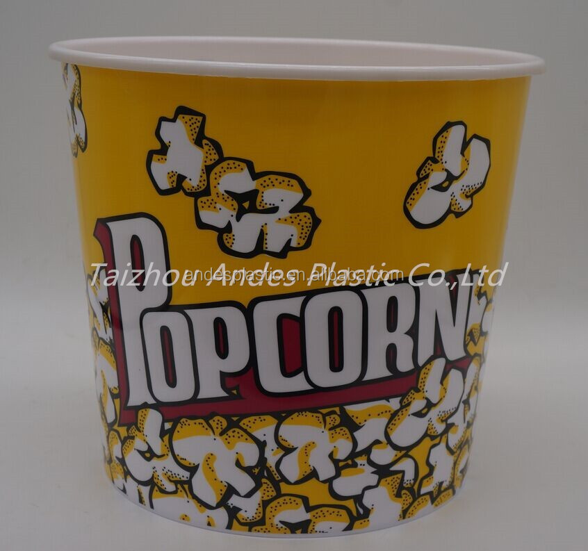 Insulated 1.6L plastic popcorn bucket with lid and handle hot sale