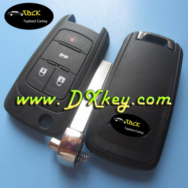 New arriver!! 4 buttons Folding key case for car key chevrolet chevrolet Camro key cover with cross logo HU100 blade