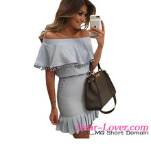 Top Sale Sexy Young Ladies Blue Pom Pom Trim Overlay Off Shoulder Dress