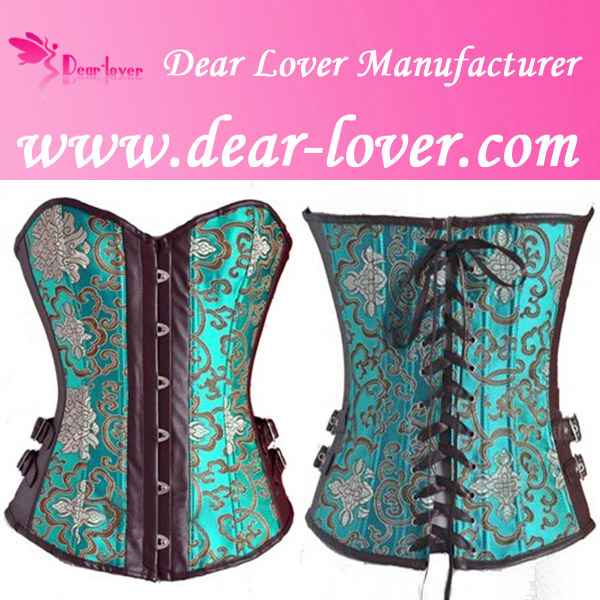 Coffee Faux Leather Corset ,sexy croset