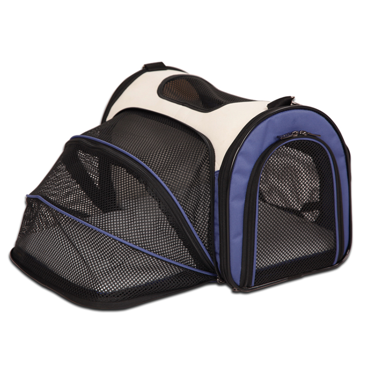 Wholesale collapsible expandable folding oxford dog pet carrier with mat