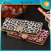 Diamond decorative beautiful leopard oil pu leather case for iphone6