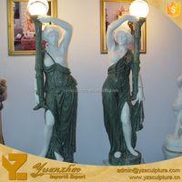 Life size standing lady sculpture with lights lamp for garden decoration