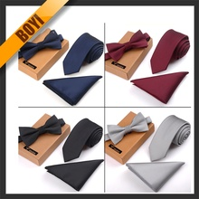 Tie Matched Bow Ties And Pocket Square Set In New Trend