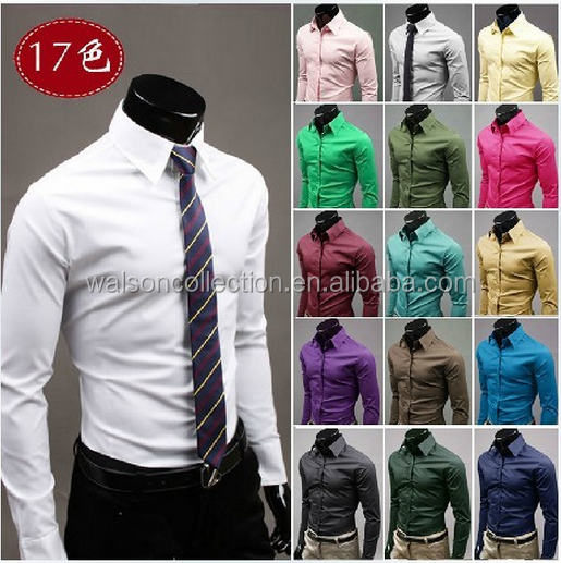 2017Mens luxury 17colors stylish casual Dress Slim fit <strong>shirts</strong> for men wedding dress <strong>shirt</strong> plus size 3xl