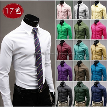 2017Mens luxury 17colors stylish casual Dress Slim fit shirts for men wedding dress shirt plus size 3xl