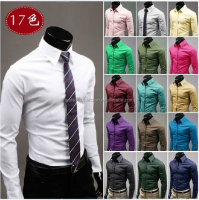 Mens luxury 17colors stylish casual Dress Slim fit shirts for men wedding dress shirt plus size 3xl