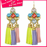 Hot new products 2016 for european fancy fashion tassel design designer jewellery colorful plastic beaded hanging earrings