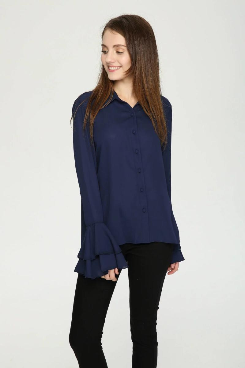 Chiffon ladies blouse white shirt navy shirt lotus long sleeves single-breasted women casual clothes