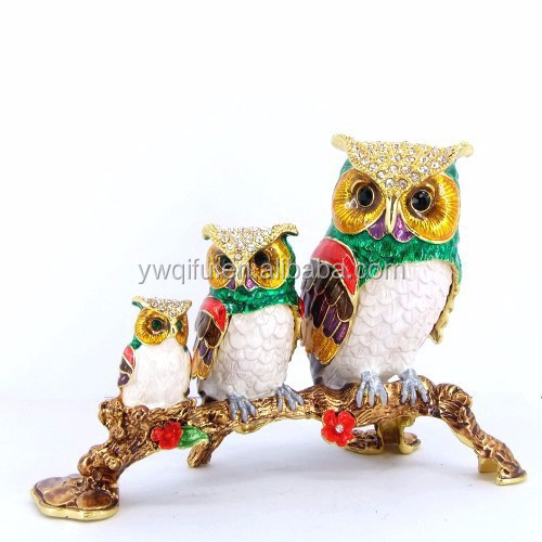 Wholesale owl animal shaped handicraft pewter jewelry trinket boxes(QF3431)