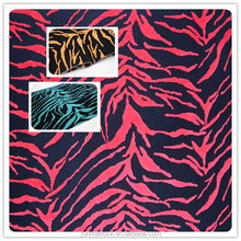polyester and cotton zebra pattern flocked stretch ottoman fabric
