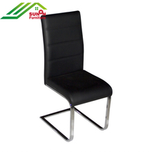 Popular Black PU Leather High back S shape chrome meatl Tube legs Dining chair