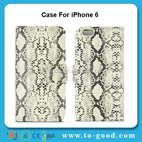 Hot Fashion Snake Skin Design Leather Flip Wallet Moible Phone Case Cover For iPhone 6