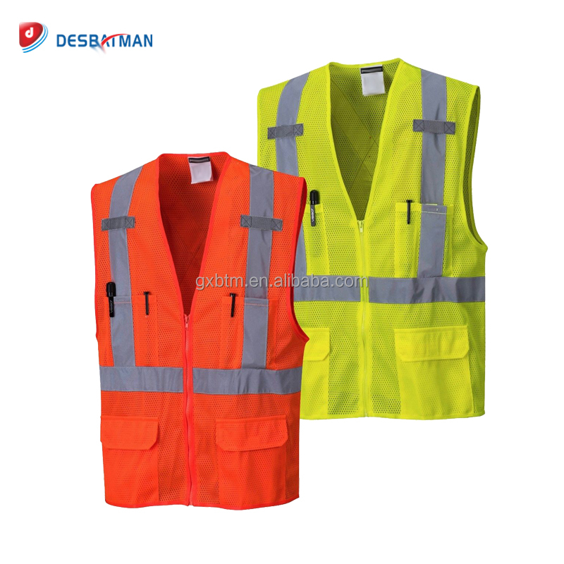 Wholesale 100% Polyster Mesh High-Visibility Safety Work Vest with Reflective Tapes and Pockets