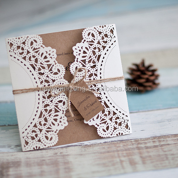 Affordable rustic laser cut wedding invites with tags