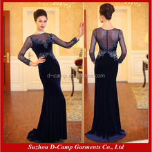 ME005 Long sleeves velvet party dresses mother of the groom dressess women evening