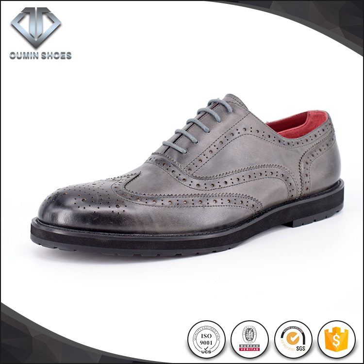 Brand real leather men gray oxford shoes casual shoes