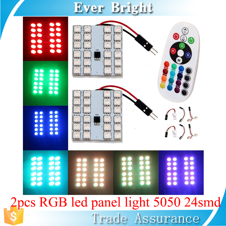 2pcs bulbs and remote control festoon/T10/BA9S interior car lights roof light 12v led light 5050 24 smd led panel rgb