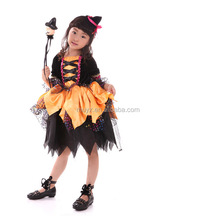 L2439A Halloween cosplay children's performance costumes witch sets yellow witch fairy dresses