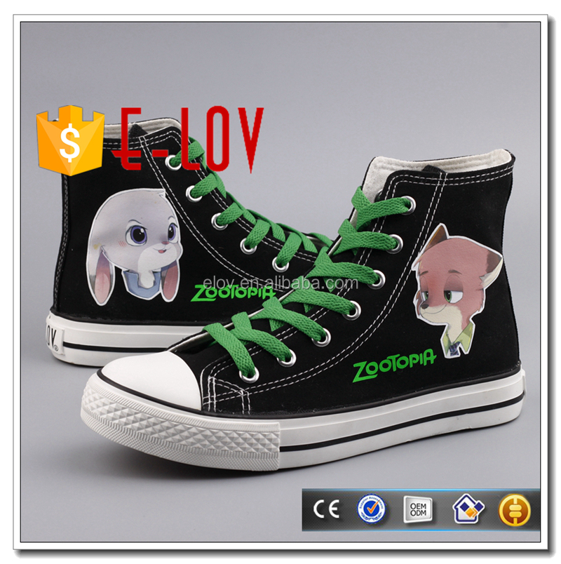 Fashion printed zootopia shoes cartoon character women canvas shoes