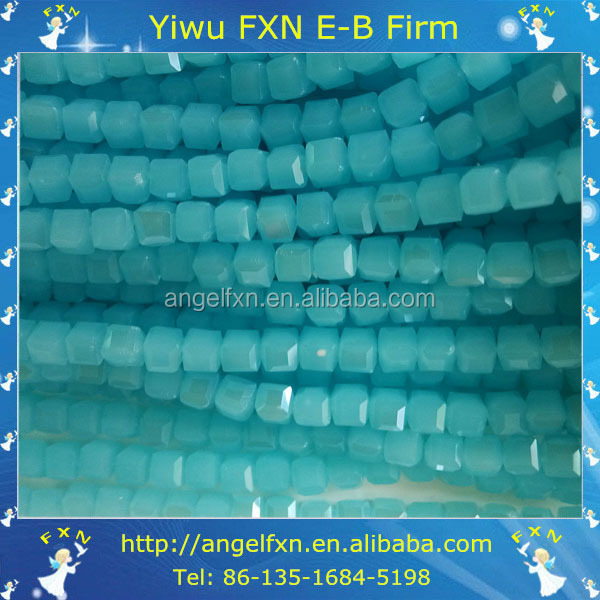 8mm blue jade glass square beads