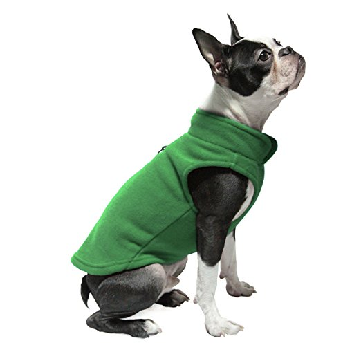 Cold Weather Dog Fleece Vest Washable 100% Polyester Green Dog Apparel