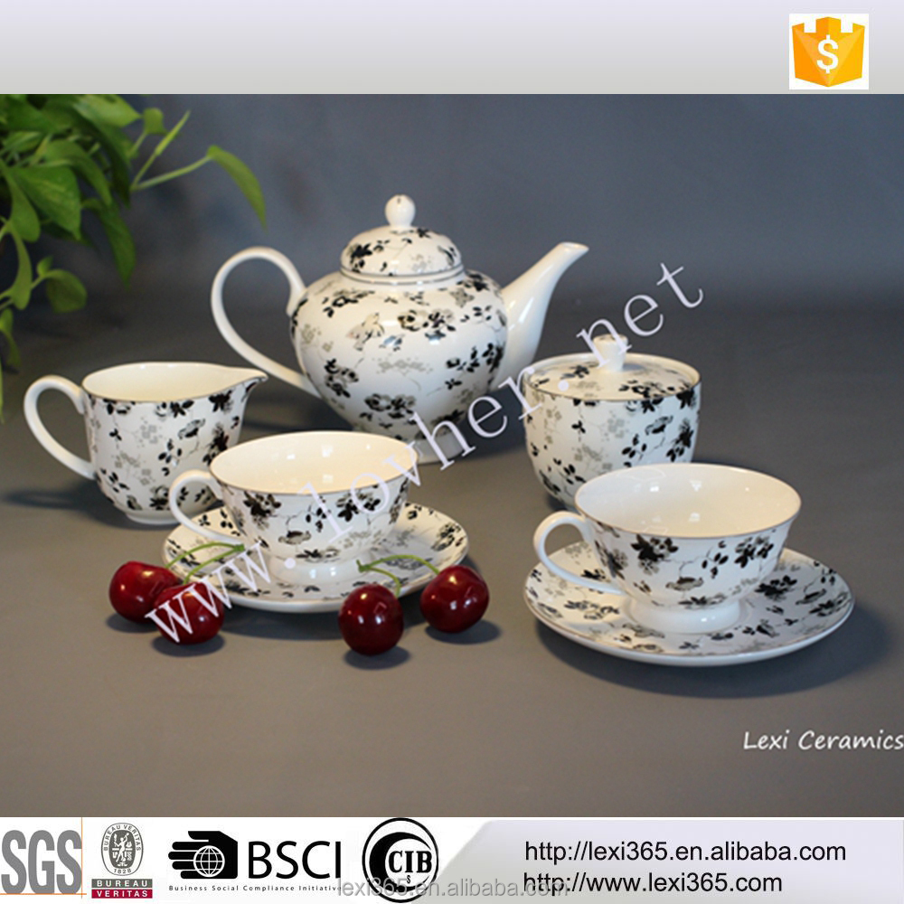 Hot sales 2017 home use high quality bone china teaware afternoon tea set with pot cup saucer milk jar sugar bowl