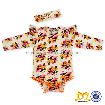 Toddlers Thanksgiving Turkey Pom Pom Romper Baby Boutique Wholesale Newborn Baby Clothes