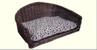 wicker pet bed and house