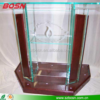 Glass color acrylic lectern with wood decoration