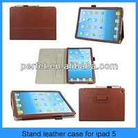 High quality insert card smart case for ipad with hand rack leather covers