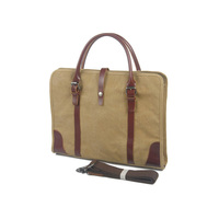 Real Leather Canvas Messenger Bag School