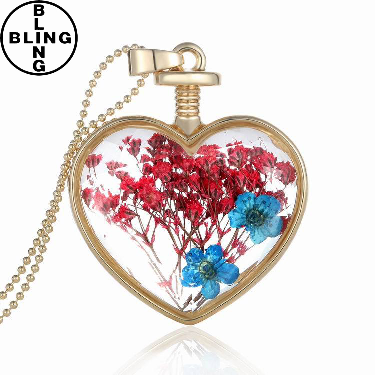 >>>Classic Design Crystal Necklace Big size Heart Shape Blue Crystal Pendant Love Necklace/