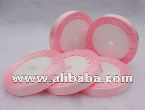 "100% Polyester Satin Ribbon Width 20mm or 3/4"" - Pink Color"