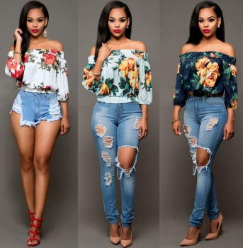 Women Summer Blouses Vintage Floral Shirt Long Sleeve Shirt Women Female Tops Fashion Cotton Off-shoulder Shirt