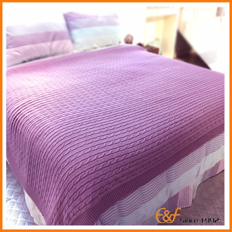 China Blanket 100%Cotton Purple Color Cable Knit Throw Blanket for Baby