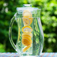 wholesale clear acrylic Plastic water filter pitcher jug with lid