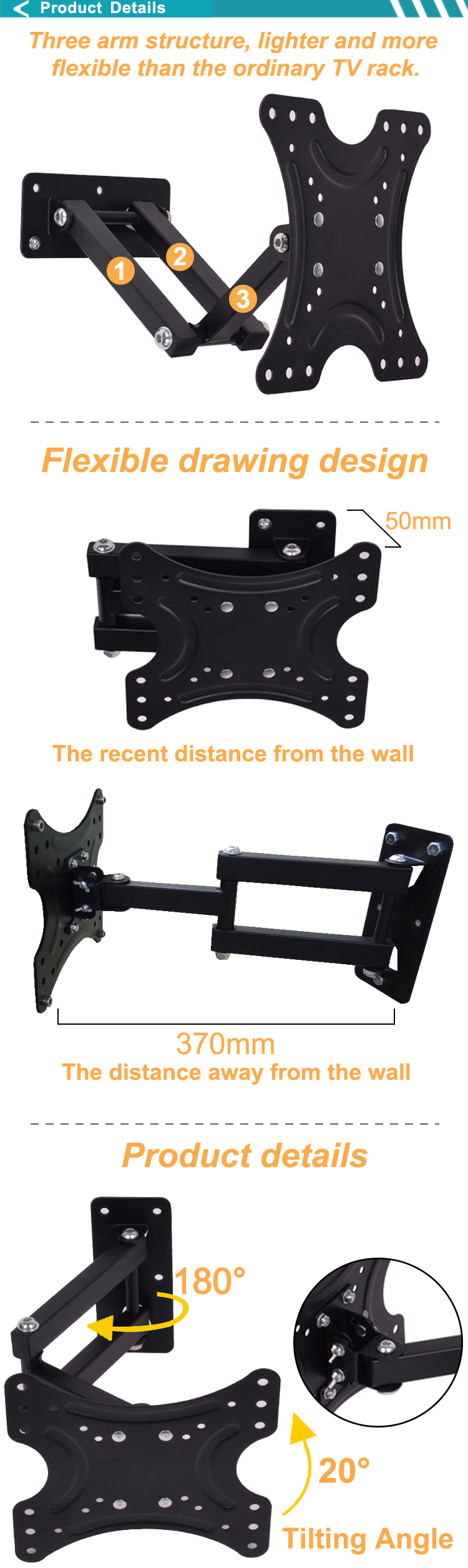 Telescoping Tv Arm : Degree telescoping swing arm wall mount tv holder for