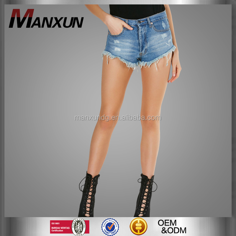 2017 New Style Ladies Tailored High-waisted Pants Uneven Raw Hem Finish Denim Shorts Mini Going Out Short Jeans