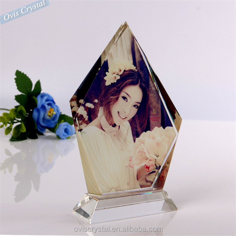 wholesale irregular shape Creative Customized Crystal crystal photo frame with magnet for wedding gift