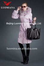pink colour women winter down feather padding filled fox fur coat