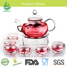 2017 Fashionable Gift tea Brewing Clear Glass Tea Cup Set glass teapot with cup saucer