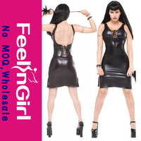 New Style 3PC Stretch Black Faux Leather Bodysuit